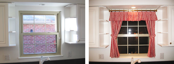 Belleville West End Kitchen Before & after Curtains