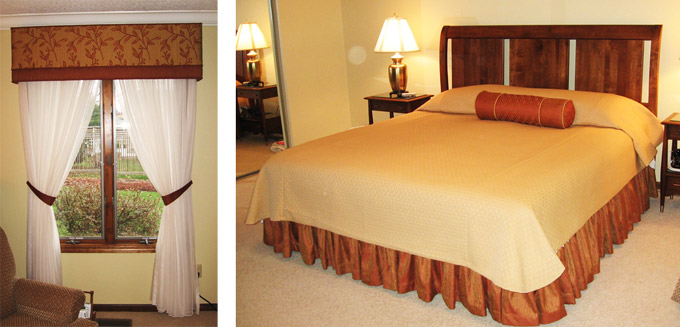 Belleville IL Custom Upholstered Cornice & Custom Bedding