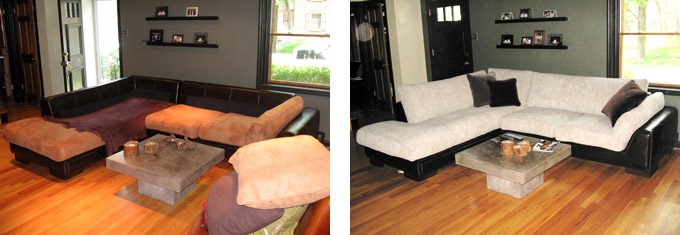 Brentwood MO Couch Before & After Re-upholstery