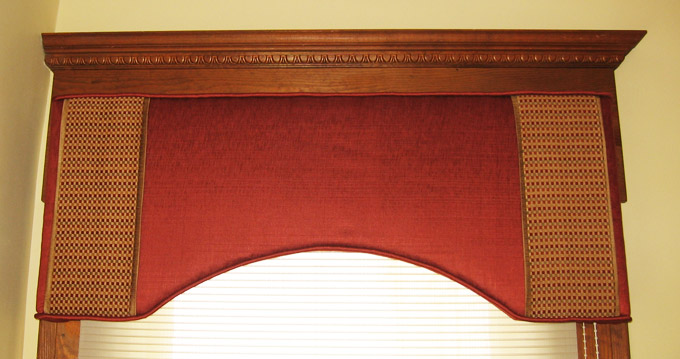 Coordinating Custom Banded Valance for Hall