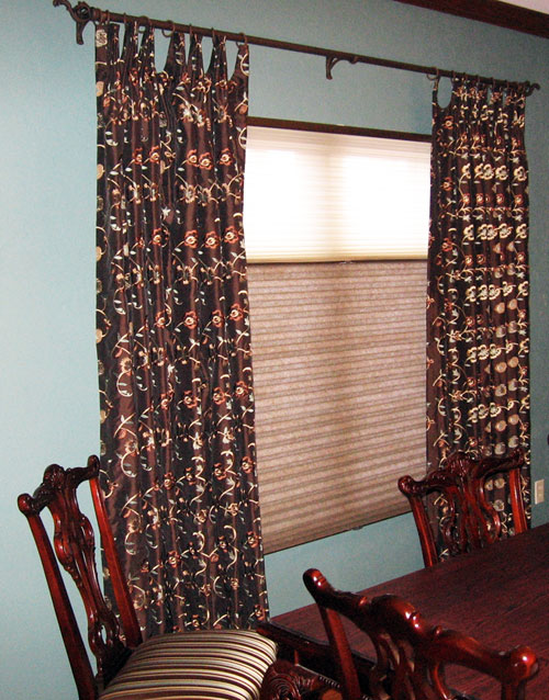 Custom Drapery over Hunter Douglas Duolite & Reupholstered Dining Room Chairs