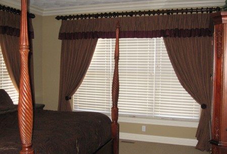 Custom Drapery with Hunter Douglas Faux Wood Blinds