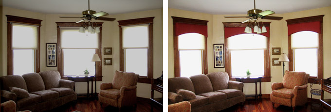 Family Room Before & After Cornice Installation in Modoc IL