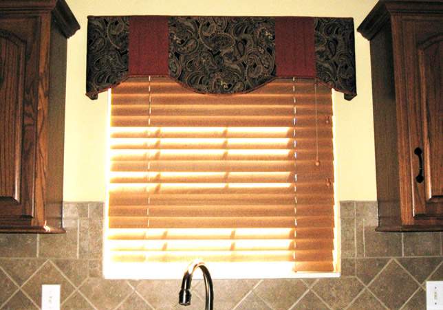 Custom Kitchen Cornice with Pleated Fabric Accents