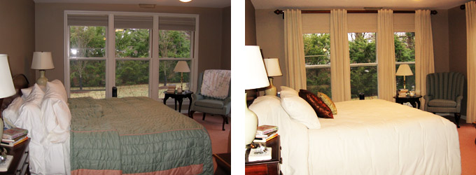 O'Fallon Bedroom Before & After with New Bedding & Window Treatment
