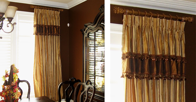 Mt. Vernon IL Custom Silk Drapery with Beaded Trim
