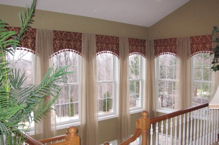Custom Soft Fabric Valances with Waterfall Sheers