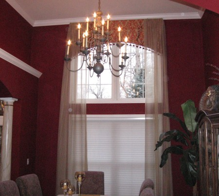 Dining Room Custom Cornice Board, Drapery Panels and Hunter Douglas Duette Architella Honeycomb Shades