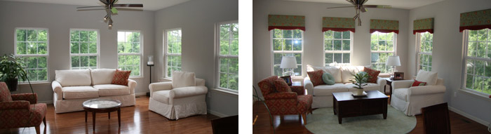 O'Fallon Sun Room Before & After with Valances, Pillows and Momeni Rug by Eye on Design