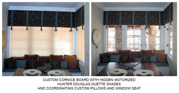 CUSTOM CORNICE, PILLOWS, Hunter Douglas Motorized Duette Shades