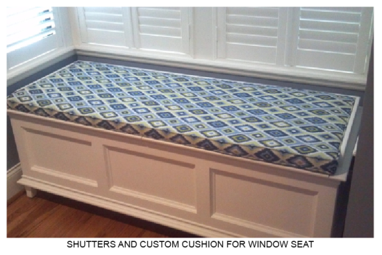 Custom Shutters and Window Seat Cushion