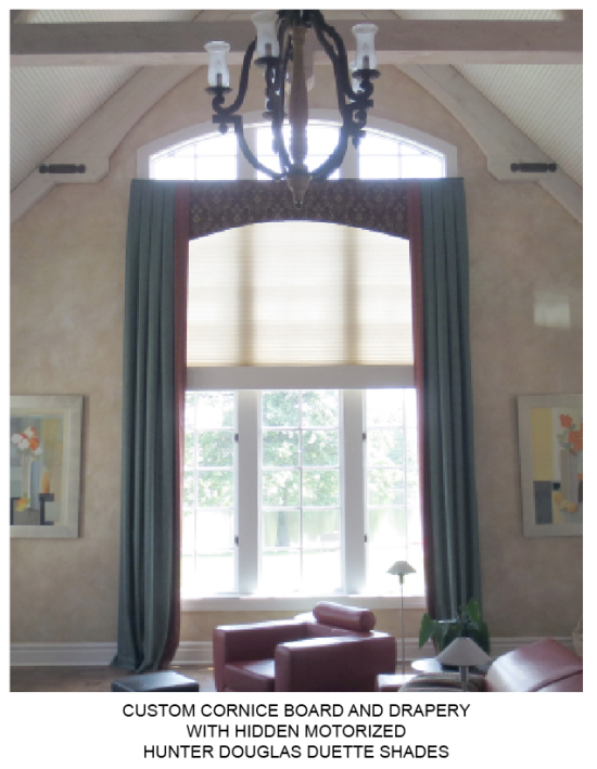Drapery and Hunter Douglas Motorized Duette Shades