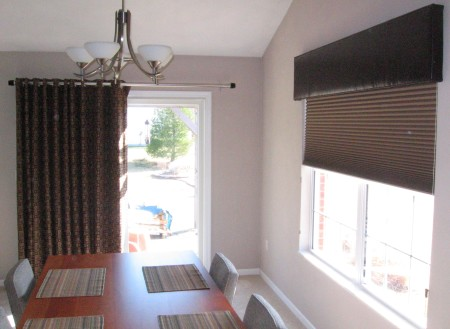 Custom Vertical Drapery & Handmade Cornice with Hunter Douglas Duette Honeycomb Shades