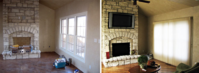 Shiloh IL Hearth Room Before & After Hunter Douglas Alustra Luminette