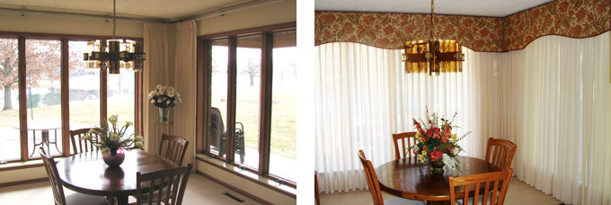 Shiloh Dining Room Before & After Cornices and ADO Sheers