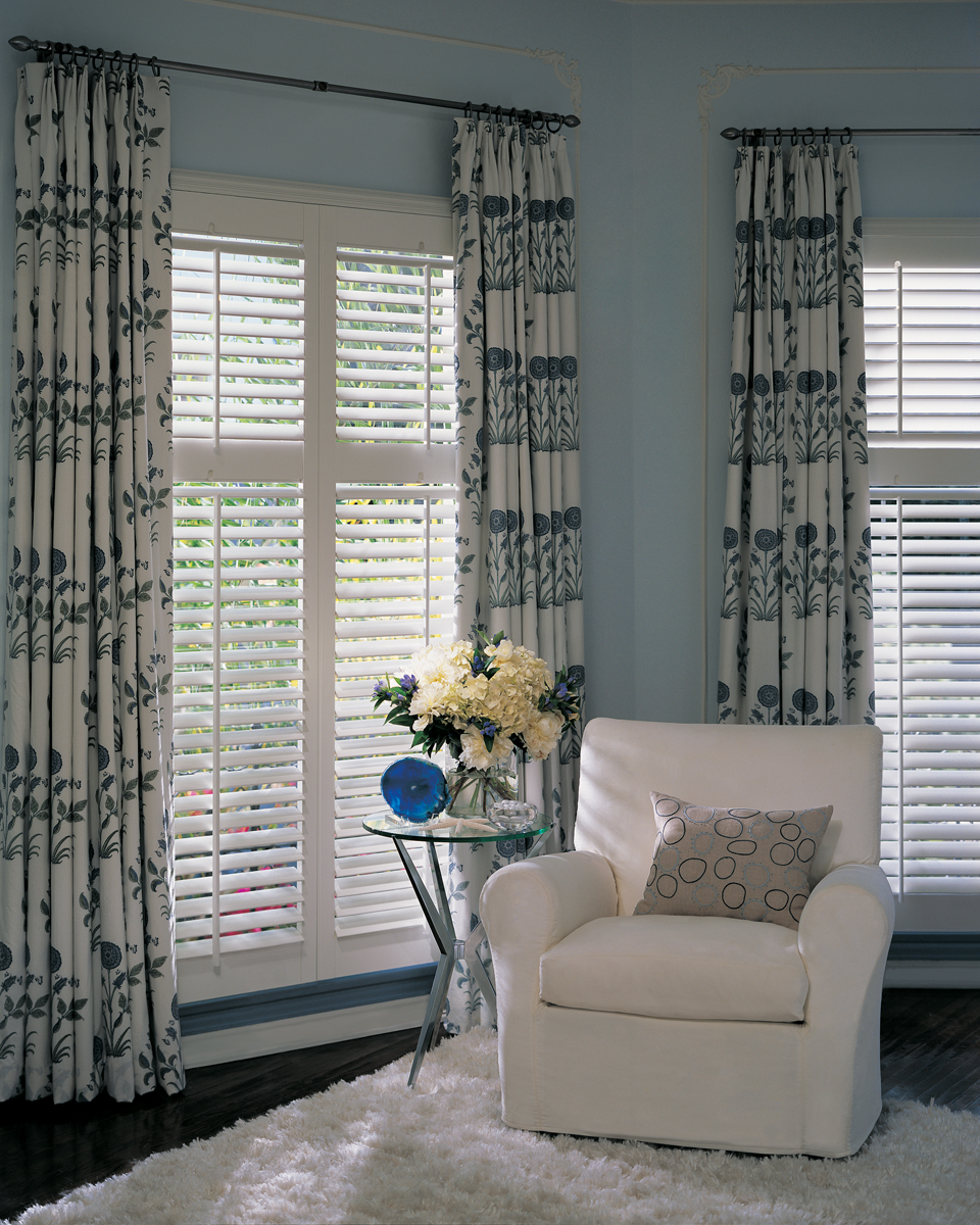 Plantation Shutters Beneath Drapery