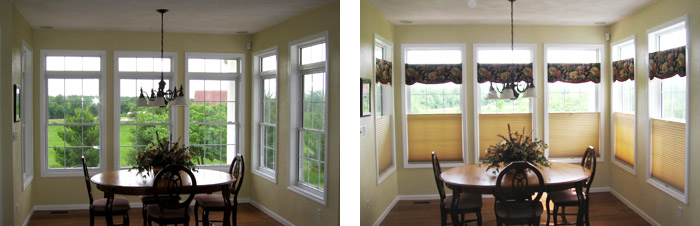 Freeburg IL Sun room Before & After with Hunter Douglas Duette Shades beneath Custom Beaded Valances