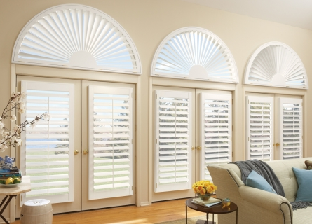 Hunter Douglas Faux Wood Shutters on Arched Windows and French DoorsHunter Douglas Faux Wood Shutters on Arched Windows and French Doors