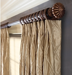 Euro Pleated Drapery on Decorative Wood Poles