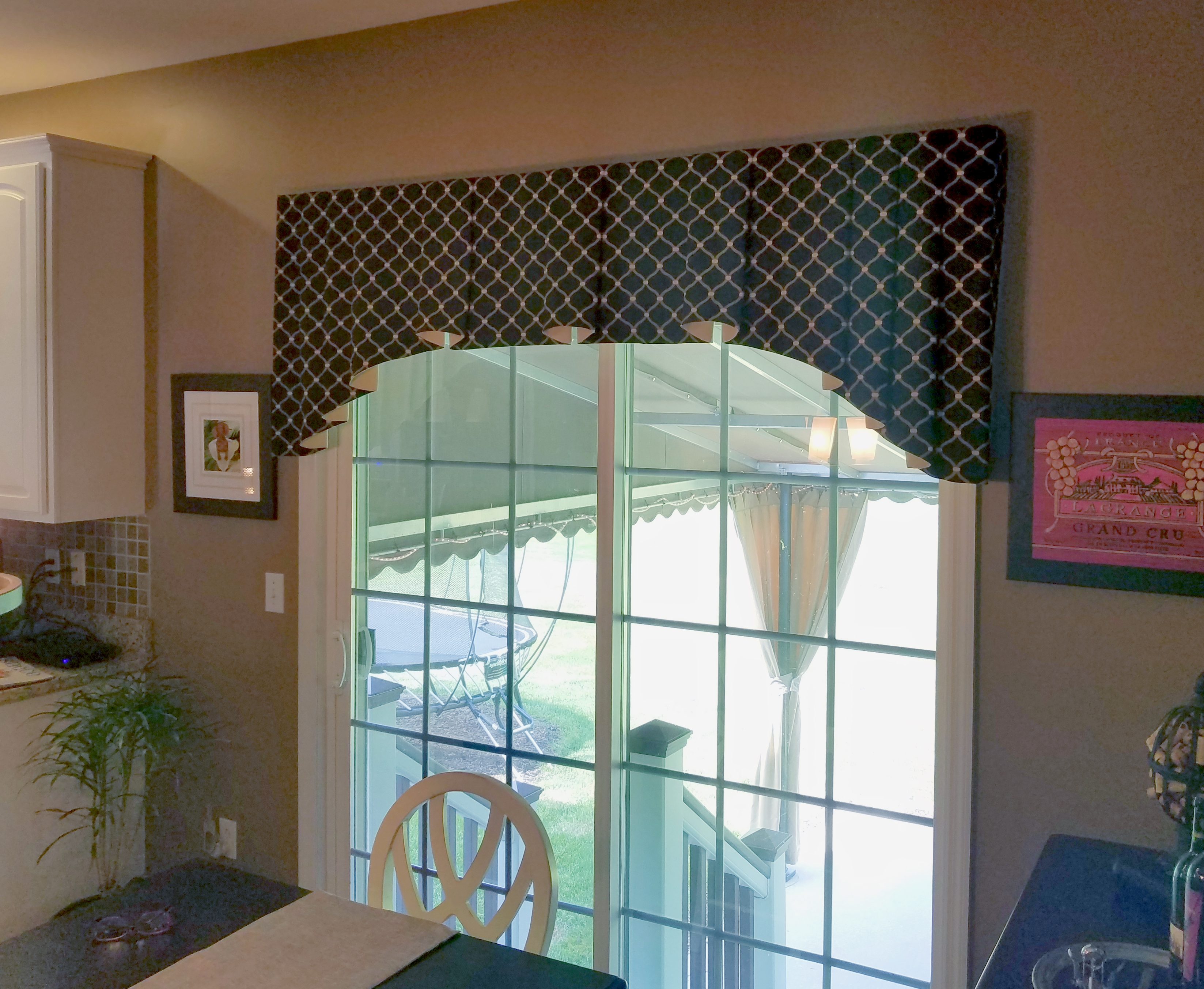 Custom Made Valance Over Sliding Gl Door With Matching Kitchen Window To Compliment The Look And Feel Of These Adjoining Rooms
